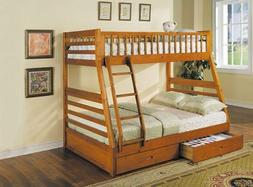 ACME 02018 Jason Twin/Full Bunk Bed with Drawers, Honey Oak