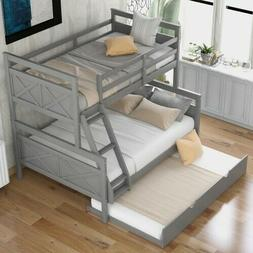 2 Colors Twin Over Full Bunk Bed Wood Frame Bed With Ladders