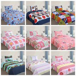 2 Pcs Kids Bedspread Quilts Set for Boys Girls Bed Printed B