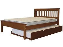 Bedz King Mission Style Full Bed with a Twin Trundle, Espres