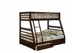 Bunk Beds Kids Twin Over Full Wooden Bed Frame 2 Storage Dra