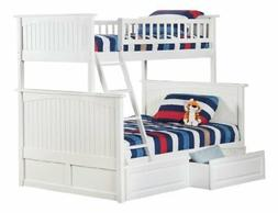 Nantucket Bunk Bed with 2 Raised Panel Bed Drawers, Twin Ove