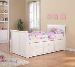 Twin Sleigh Captains Bed with Twin Trundle and Storage Drawe