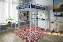 Abode Full Size Loft Bed with Black Desk and Shelves in Silv