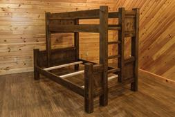 Barn Wood Style Timber Peg Bunk Bed - Amish Made in the USA