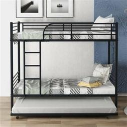 Black Metal Twin over Twin Bunk Bed Frame Ladder w/Trundle K