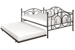 DHP Bombay Full-Size Metal Daybed Frame with Twin-Size Trund