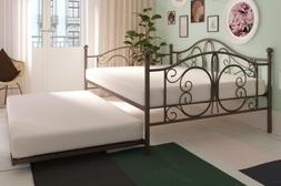 Bronze Metal Daybed Frame Full Bed WITH TWIN TRUNDLE Bedroom