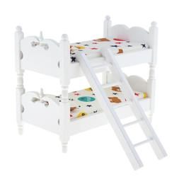 Bunk Bed Bedroom Accessories Kids Pretend Toys 1:12 Dollhous