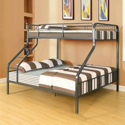 BUNK BED FRAME Twin XL over Queen Size Guardrails Ladder Bla