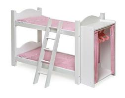 BUNK BED SET w/ LADDER, BEDDING, BUILT IN ARMOIRE FOR AMERIC