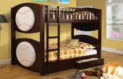 Bunk Beds Twin Over Twin with Storage Ladder Kids Baseball B