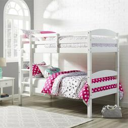 Bunk Beds Twin Over Twin WHITE Kids Bedroom Furniture Ladder