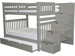 Bedz King Bunk Beds Full over Full Stairway, 4 Steps and Twi
