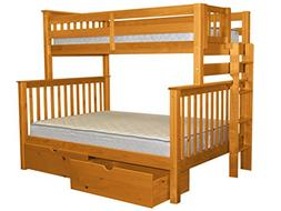 Bedz King Bunk Beds Twin over Full Mission Style with End La