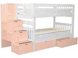 Bunk Beds Twin over Twin Stairway, 3 Steps and 2 Pink Bed Dr