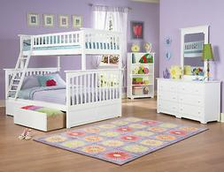 Columbia Bunk Bed Twin over Full with Flat Panel Bed Drawers