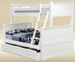 COTTAGE PURE WHITE WOOD TWIN OVER FULL SIZE BUNK BED with TW
