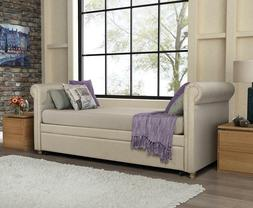 Daybed with Trundle Tan Beige Linen Upholstered Tufted Day B