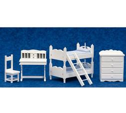 Dollhouse Miniature White Bunk Bed Bedroom Set of 5 by Town