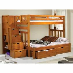 Donco Twin over Full Stairway Bunk Bed - Honey, Twin Over Fu