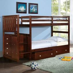 Donco Twin over Twin Stairway Bunk Bed - Dark Cappuccino