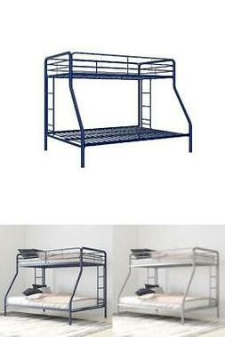 Durable Metal Bunk Bed Frame Twin Size Secured Safety Rails