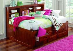 Full Daybeds with Bookcase Headboard, Trundle, and Three Sto