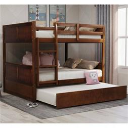 Full Over Full Bunk Bed with Twin Size Trundle W/Ladder Bed