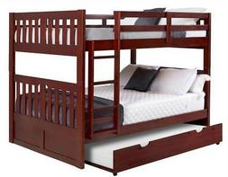 Full Over Full Mission Bunk Bed with Twin Trundle in Merlot