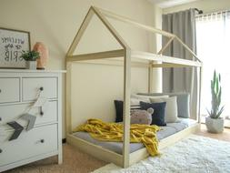 Full Size House Bed Frame Real High Quality Wood Boy Girl Mo