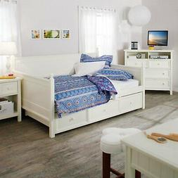 Full size White Wood Daybed with Pull Out Trundle