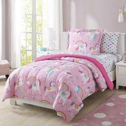 Girls Pink Unicorn Rainbow Hearts Bed In a Bag Comforter She