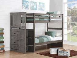 Gray Bunk Beds for Boys or Girls with Stairs and Storage Dra