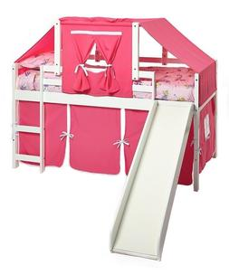 Kid's Twin White Low Loft/Bunk Bed with Slide, Pink Curtain