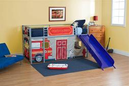 Kids Loft Bed Fire Truck With Slide Fun Bunk Bed with Safety