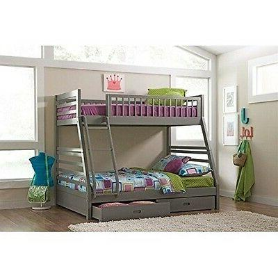 Coaster 460182 Grey Twin over Full Bunk Bed with Storage Dra