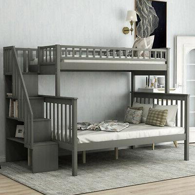 1x 61.4'' Gray Loft Bunk Storage Bed Bunk Beds Twin Over Ful