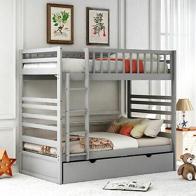 Bunk Bed Twin Solid Storage Beds W/ For Adults