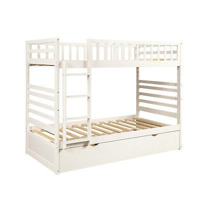 Bunk Bed Twin Solid Bed Storage W/ For Kids