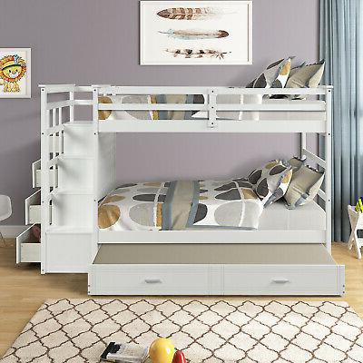 Bunk Beds Twin Over Twin Loft Beds Wood With Trundle&Storage