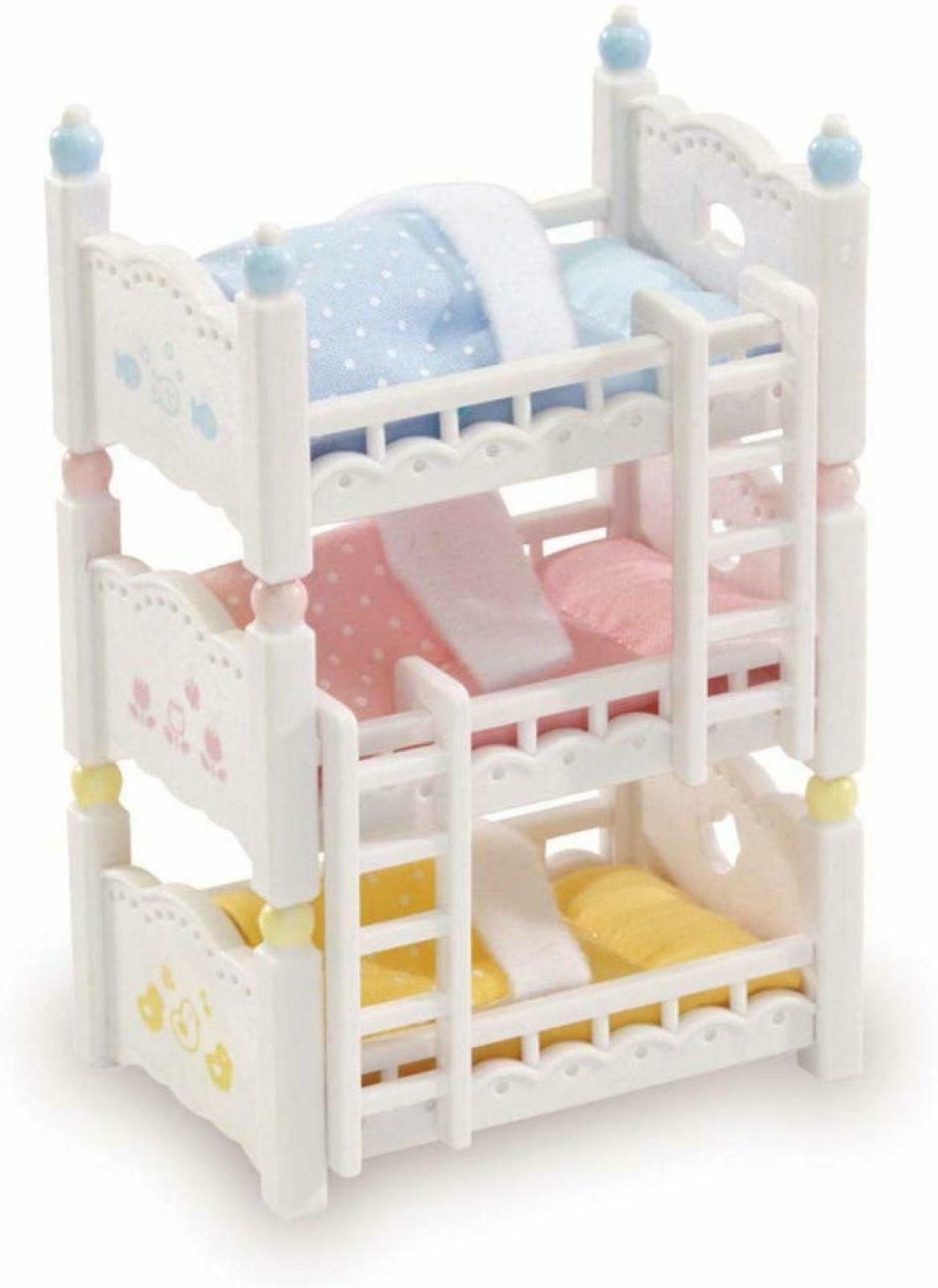 Calico Critters Triple Baby Bunk Beds Bedroom Accessories To
