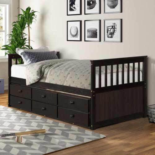 Captain's Bed frame Twin Daybed Bed and 6 Storage Drawers