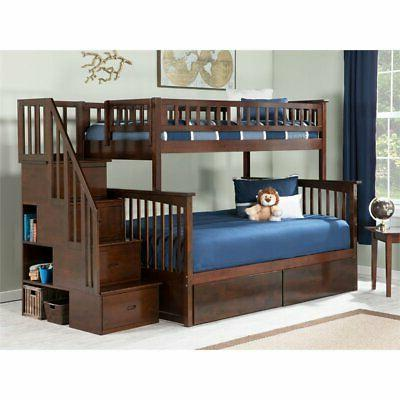 columbia twin over full staircase storage bunk