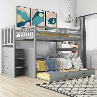 Full Over Full Bunk Bed Pine Wood with Twin Size Trundle & T
