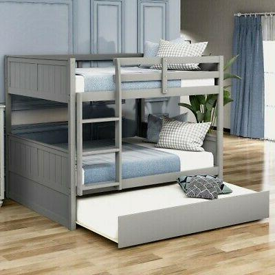 Full Over Full Bed Trundle W/Ladder Home Furniture