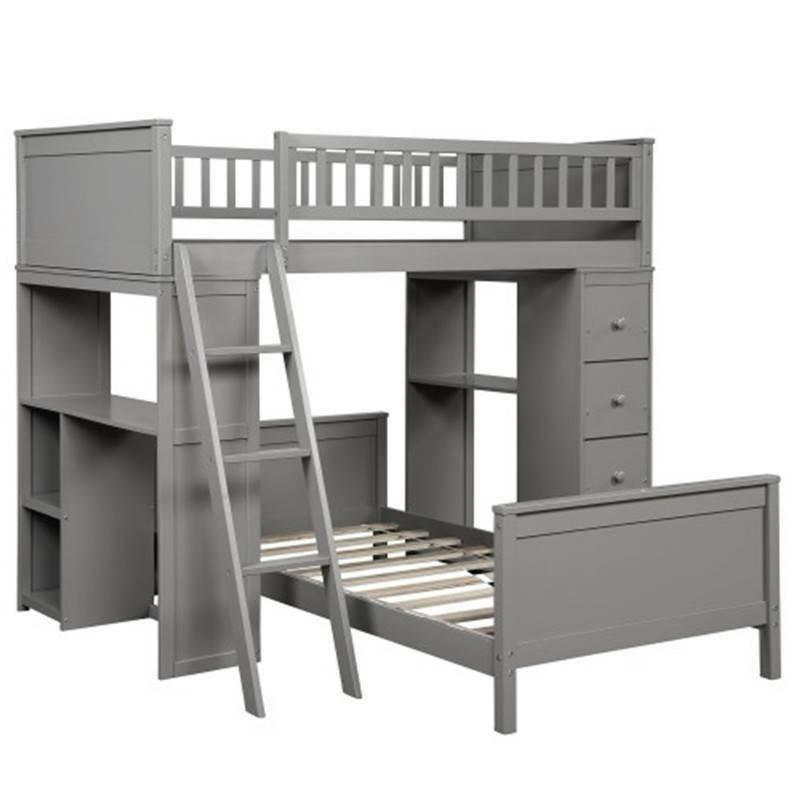 Gray Twin Bunk Loft Bed Twin Storage Bed Bedding