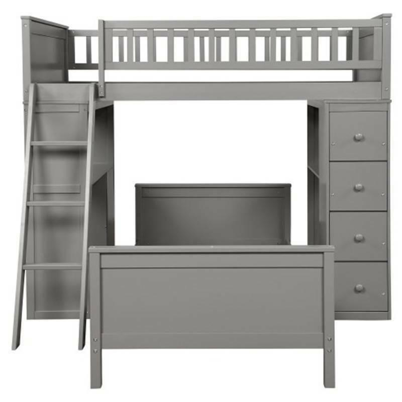 Gray Twin Twin Bunk Beds Twin Bed Bedding Set NEW