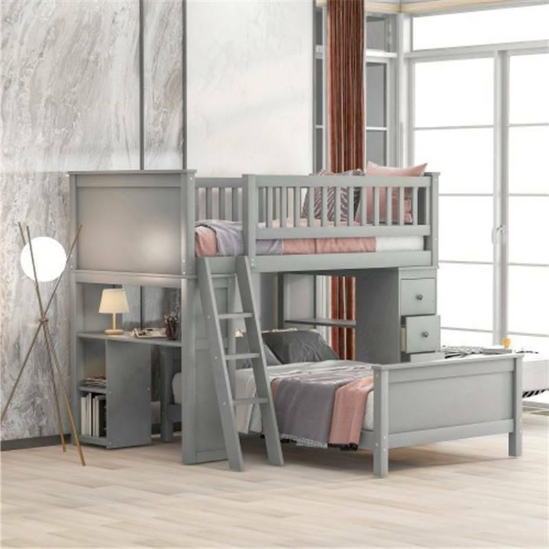 Gray Twin Bunk Beds Loft Twin Bed Bed Bedding
