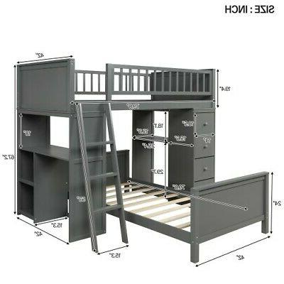 Bunk Twin Storage Bed Wood